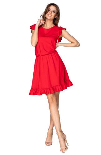 Dzianinowa sukienka z falbankami czerwona
