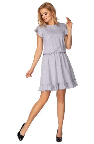 Dzianinowa sukienka z falbankami szara