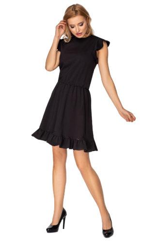 Dzianinowa sukienka z falbankami czarna