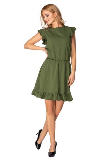 Dzianinowa sukienka z falbankami khaki