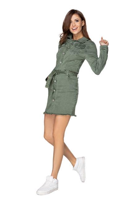 Jeansowa sukienka z wiązaniem khaki