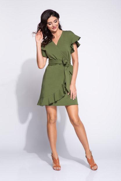 Kopertowa sukienka z wiązaniem khaki