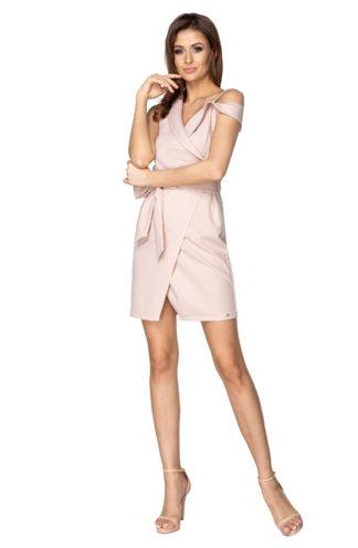 Sukienka na jedno ramię bez rękawów różowa