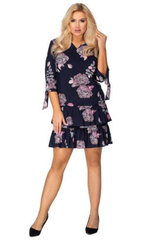 Sukienka z podwójną falbaną i wiązaniami