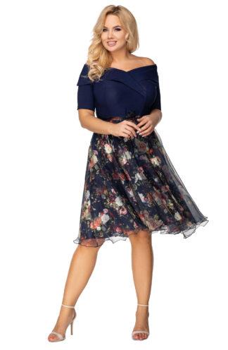 Elegancka sukienka ze spódnicą w kwiaty
