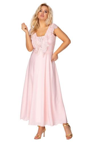 Sukienka z koronką na dekolcie