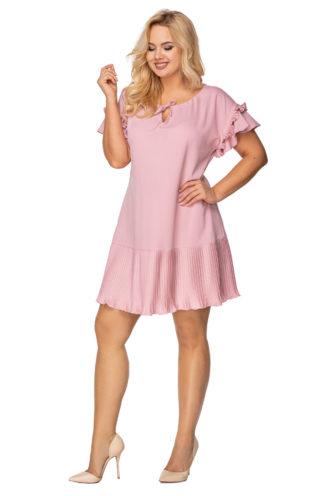 Trapezowa sukienka z plisowanym dołem