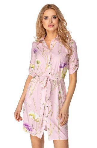 Sukienka szmizjerka z wiązaniem we wzory