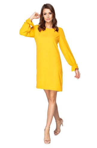 Trapezowa sukienka z długimi rękawami