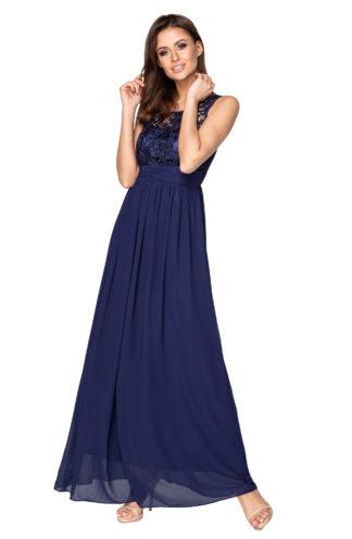 Suknia maxi z haftowaną górą