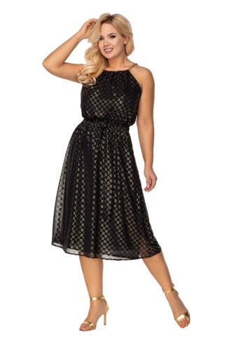 Wieczorowa sukienka z dekoltem halter czarna