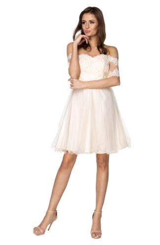 Rozkloszowana sukienka z koronkowymi rękawami