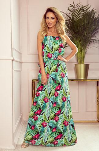 Długa letnia sukienka zielone liście
