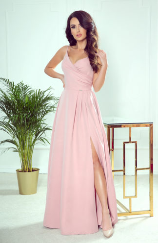 Suknia maxi na wesele na ramiączkach róż