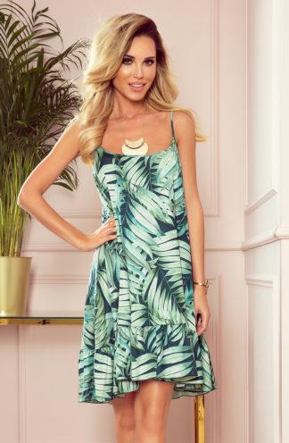 Luźna sukienka na ramiączkach zielone liście