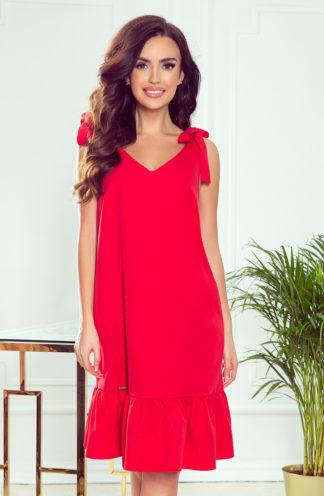 Wieczorowa sukienka z kokardkami czerwona