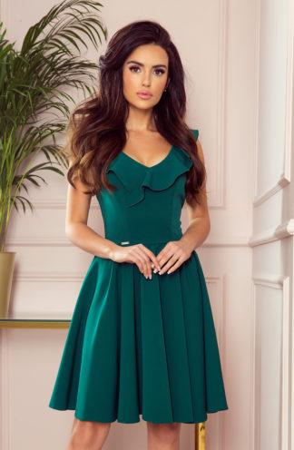 Sukienka na wesele z falbaną zieleń