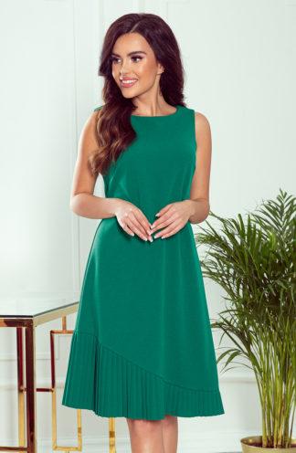 Trapezowa sukienka z plisą zielona