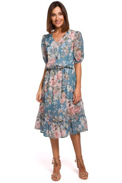 Szyfonowa sukienka midi w kwiaty niebieska