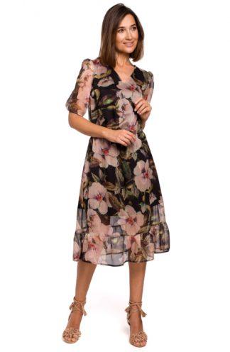 Szyfonowa sukienka midi w kwiaty czarna