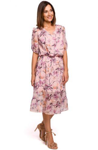 Szyfonowa sukienka midi w kwiaty różowa
