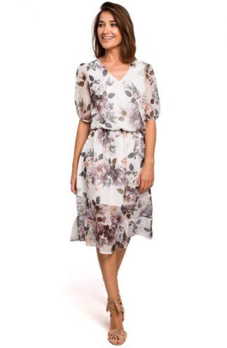 Szyfonowa sukienka midi w kwiaty biała