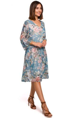 Szyfonowa sukienka w kwiaty niebieska