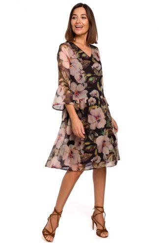 Szyfonowa sukienka w kwiaty czarna