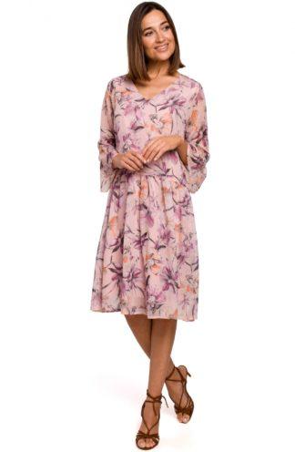 Szyfonowa sukienka w kwiaty różowa