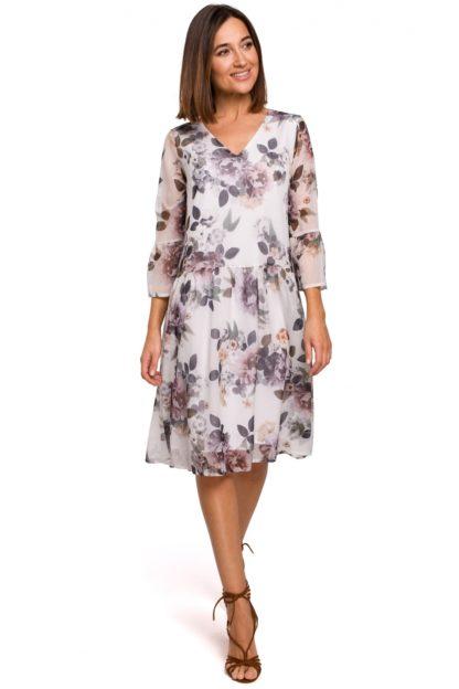 Szyfonowa sukienka w kwiaty biała