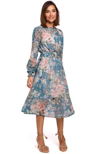Wizytowa sukienka niebieska w kwiaty