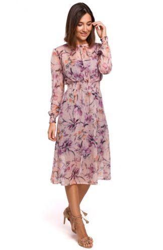 Wizytowa sukienka różowa w kwiaty