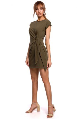 Bawełniana sukienka z wiązaniem khaki