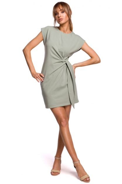 Bawełniana sukienka z wiązaniem pistacjowa