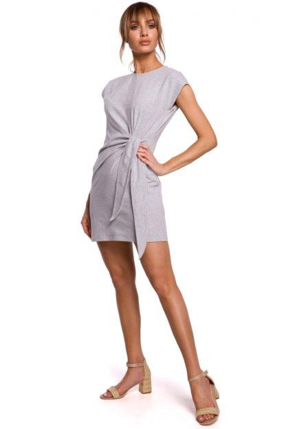 Bawełniana sukienka z wiązaniem szara