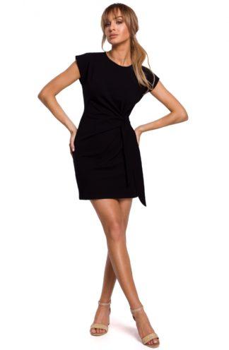 Bawełniana sukienka z wiązaniem czarna