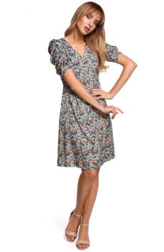 Trapezowa sukienka z marszczeniami niebieska