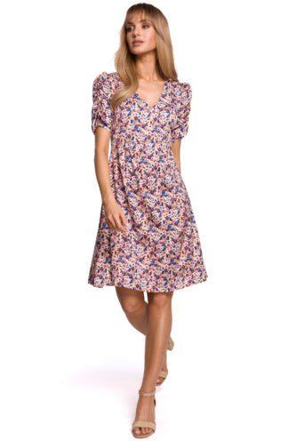 Trapezowa sukienka z marszczeniami różowa