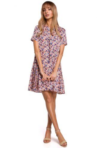 Trapezowa sukienka z falbanką różowa