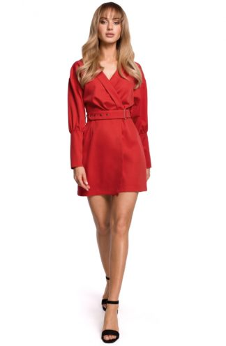 Mini sukienka z bufiastymi rękawami czerwona