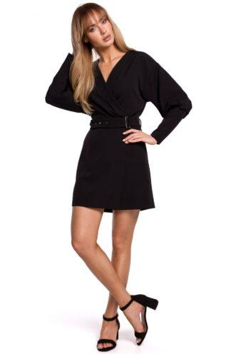 Mini sukienka z bufiastymi rękawami czarna