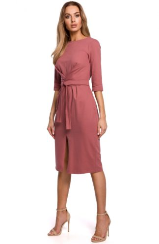 Bawełniana sukienka midi różowa