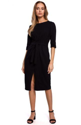 Bawełniana sukienka midi czarna