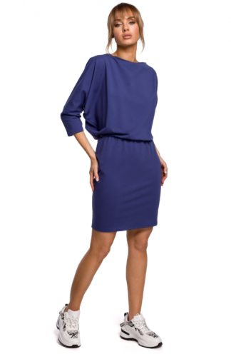 Sportowa sukienka z dekoltem na plecach niebieska