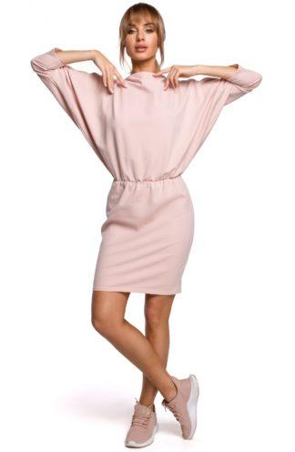 Sportowa sukienka z dekoltem na plecach różowa