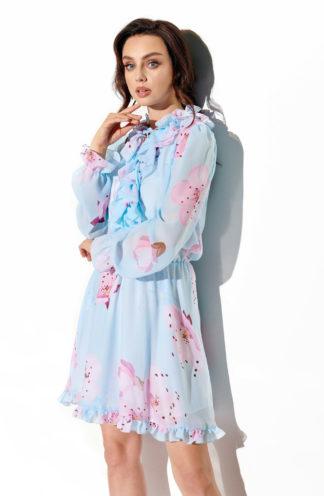 Szyfonowa sukienka błękitna we wzory