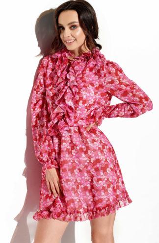 Szyfonowa sukienka czerwona we wzory