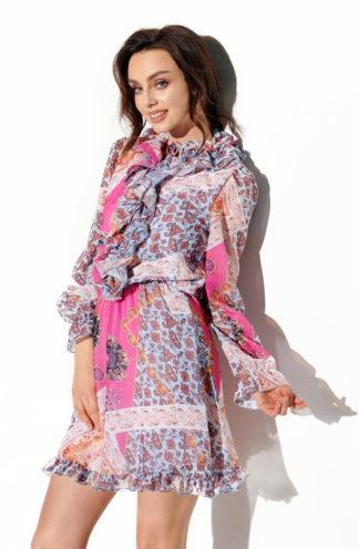 Szyfonowa sukienka różowa we wzory