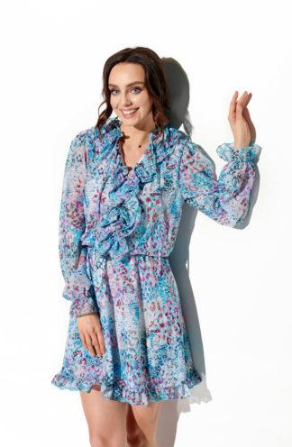 Szyfonowa sukienka niebieska we wzory