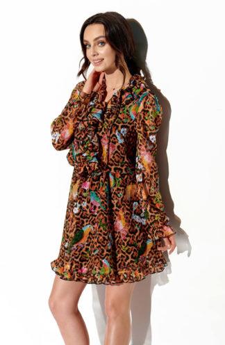 Szyfonowa sukienka z żabotem we wzory